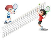 Kids playing tennis — Stock Vector