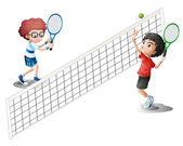 Niños jugando al tenis — Vector de stock