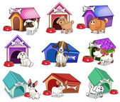 Dogs with houses — Stock Vector