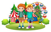 Two boys in front of the carnival — Stock Vector