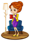 A woman near the blue couch holding a red mug — Stock Vector
