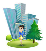 A woman in front of the building — Stock Vector