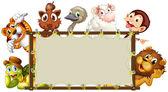 Mixed animals banner — Stok Vektör