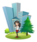 A woman outside the big buildings — Stock Vector