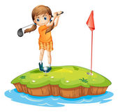 A young woman playing golf — Stock Vector