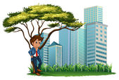 A man under the tree across the tall buildings — 图库矢量图片