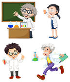 Four chemists — Stock Vector