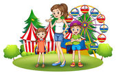 A family at the amusement park with a ferris wheel — Stock Vector