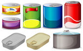 Set of cans — Stock Vector