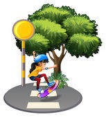 A street with a female skateboarder — Stock Vector