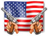 Flag and Guns — Stock Vector