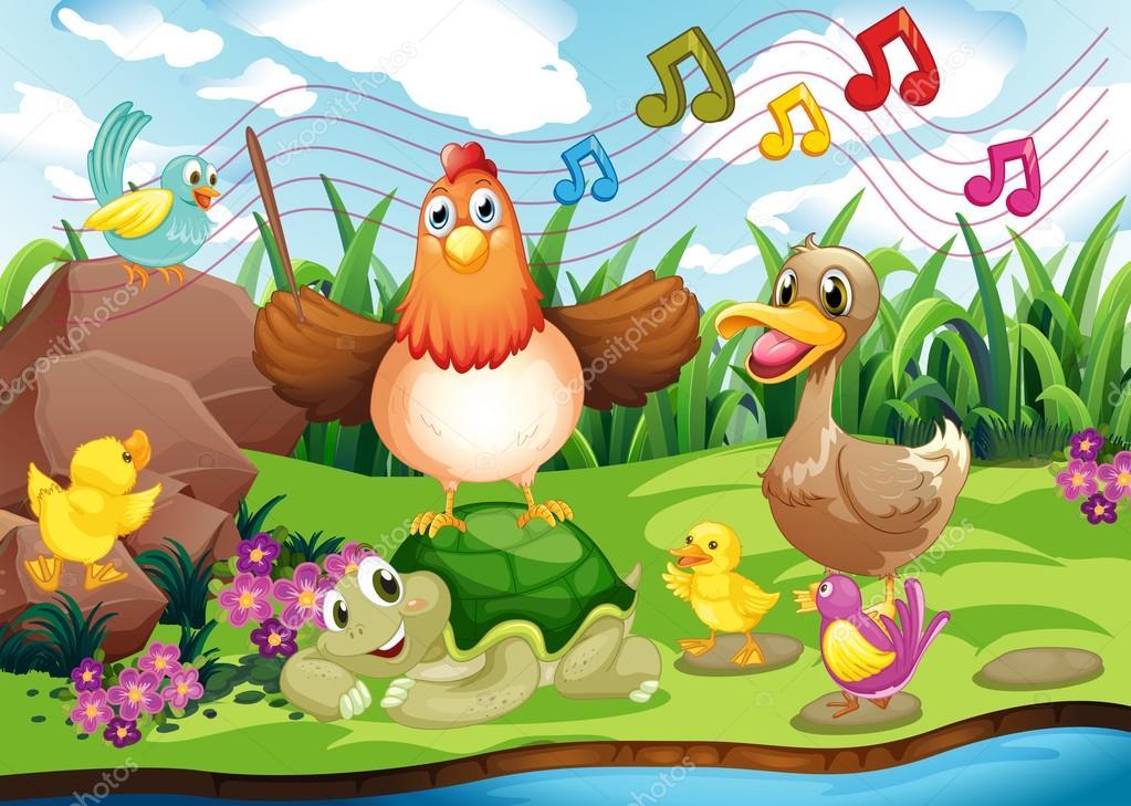 在河边唱歌的动物的插图— vector by interactimages