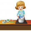 Woman cooking — Stock Vector #51350273