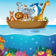 A boat at the sea with animals — Stock Vector #51351227