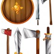 A shield, swords and axes — Stock Vector #51351441
