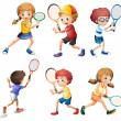 Tennis actions — Stock Vector #51351805