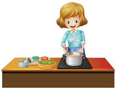 Woman cooking — Stock Vector
