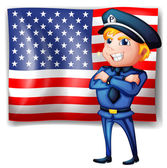 A police near the USA flag — Stock Vector