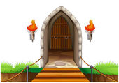 A closed door at the castle — Stock Vector