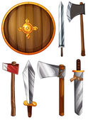 A shield, swords and axes — Stock Vector