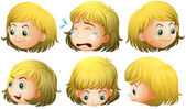 Expressions and emotions of a blonde girl — Stock Vector