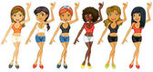 Different girls dancing — Vector de stock