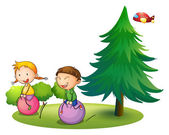 Kids playing with the bouncing balloons near the pine tree — Stock Vector