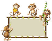 An empty banner with monkeys — Stock Vector