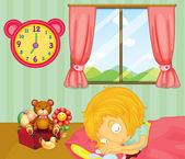 A young girl sleeping soundly in her bedroom — Stock Vector