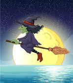 Witch and fullmoon — Stock Vector