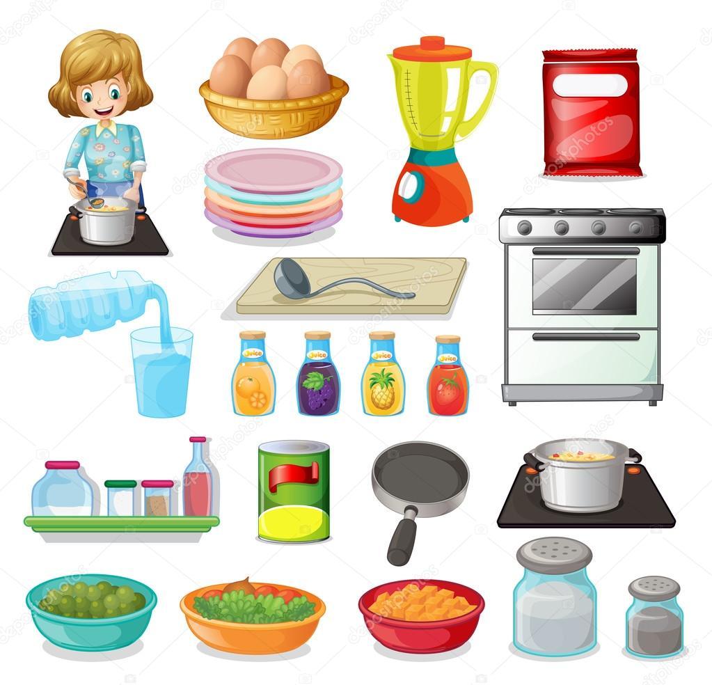 Aliments et ustensiles de cuisine image vectorielle for Cuisine et ustensiles