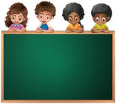 Kids leaning over the empty blackboard — Stock Vector