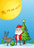 Santa con sus renos — Vector de stock