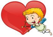 Cupido e coração — Vetorial Stock