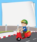 Boy on motorbike — Stock Vector