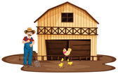 A man standing in front of the wooden barnhouse — Stock Vector