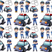 Seamless design with policemen and patrol cars — Stock Vector