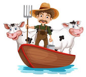 A boat with a man and two cows — Stock Vector
