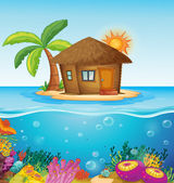 House on desert island — Stockvector