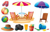 Things found at the beach during summer — Stock Vector