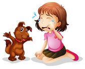 A little girl crying — Stock Vector