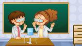 Studenten in lab — Stockvector