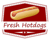 A fresh hotdog label — Stock Vector