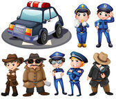 Police and detectives — Stock Vector