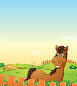 Horse in farm — Stock Vector