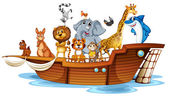 Animals on boat — Stock Vector