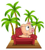 A pig sitting at the chair near the coconut trees — Stock Vector