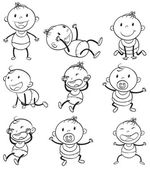 Babies with different moods — Stock Vector