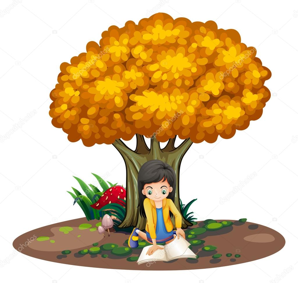 一个女孩在树下读书