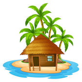 A small house in the island — Stock Vector